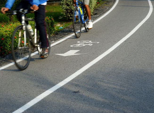 Cyclists in cycle lane