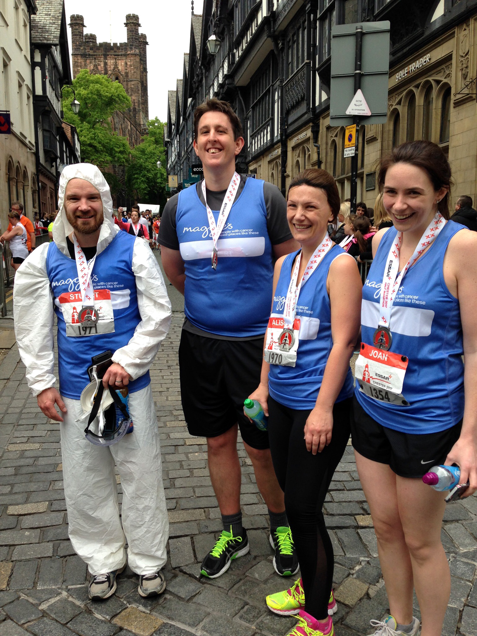 Joan Kennedy, Robert Moore, Stuart and Alison Hughes ran the Chester Half Marathon for Maggies