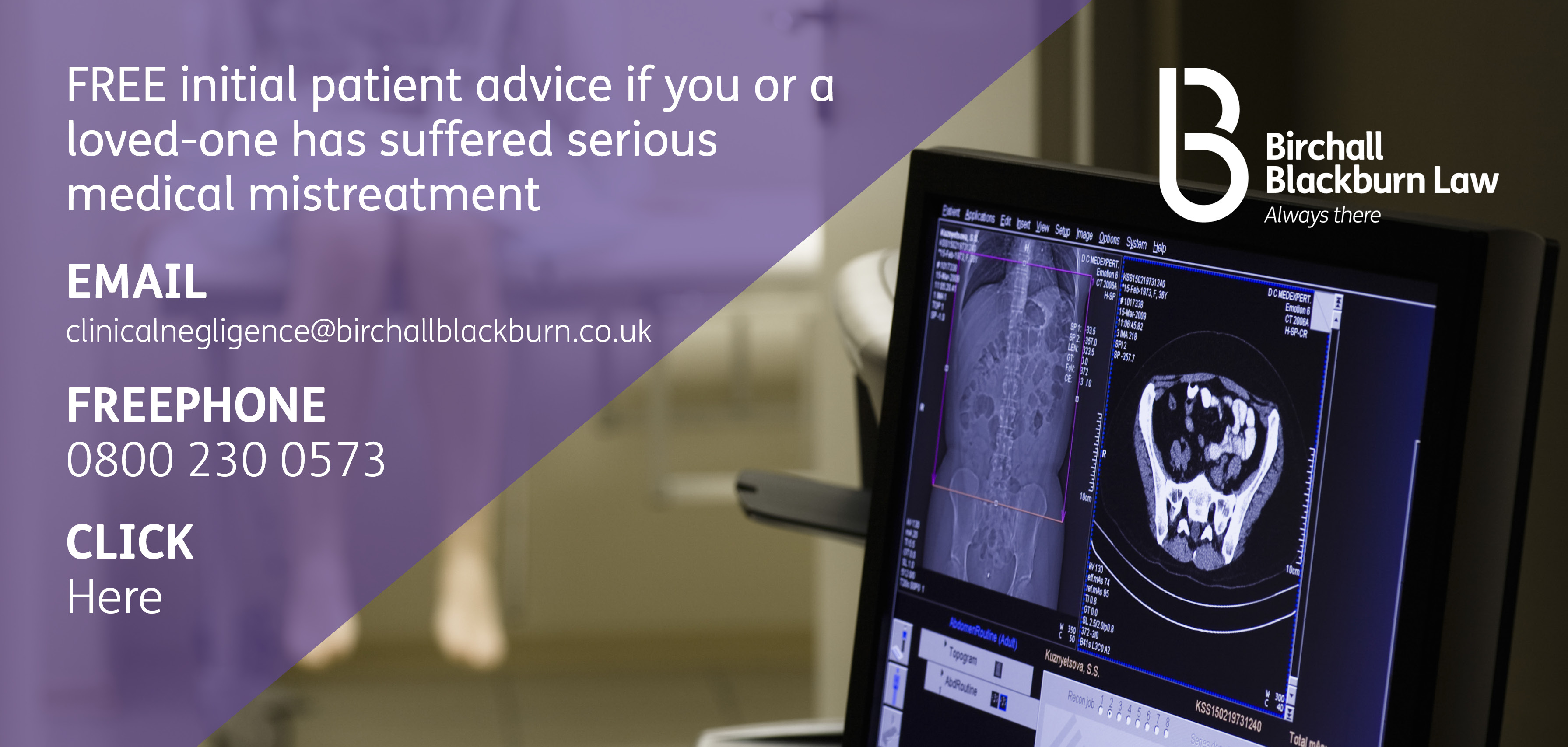 Free initial patient advice at Birchall Blackburn Law if you have suffered serious medical mistreatment