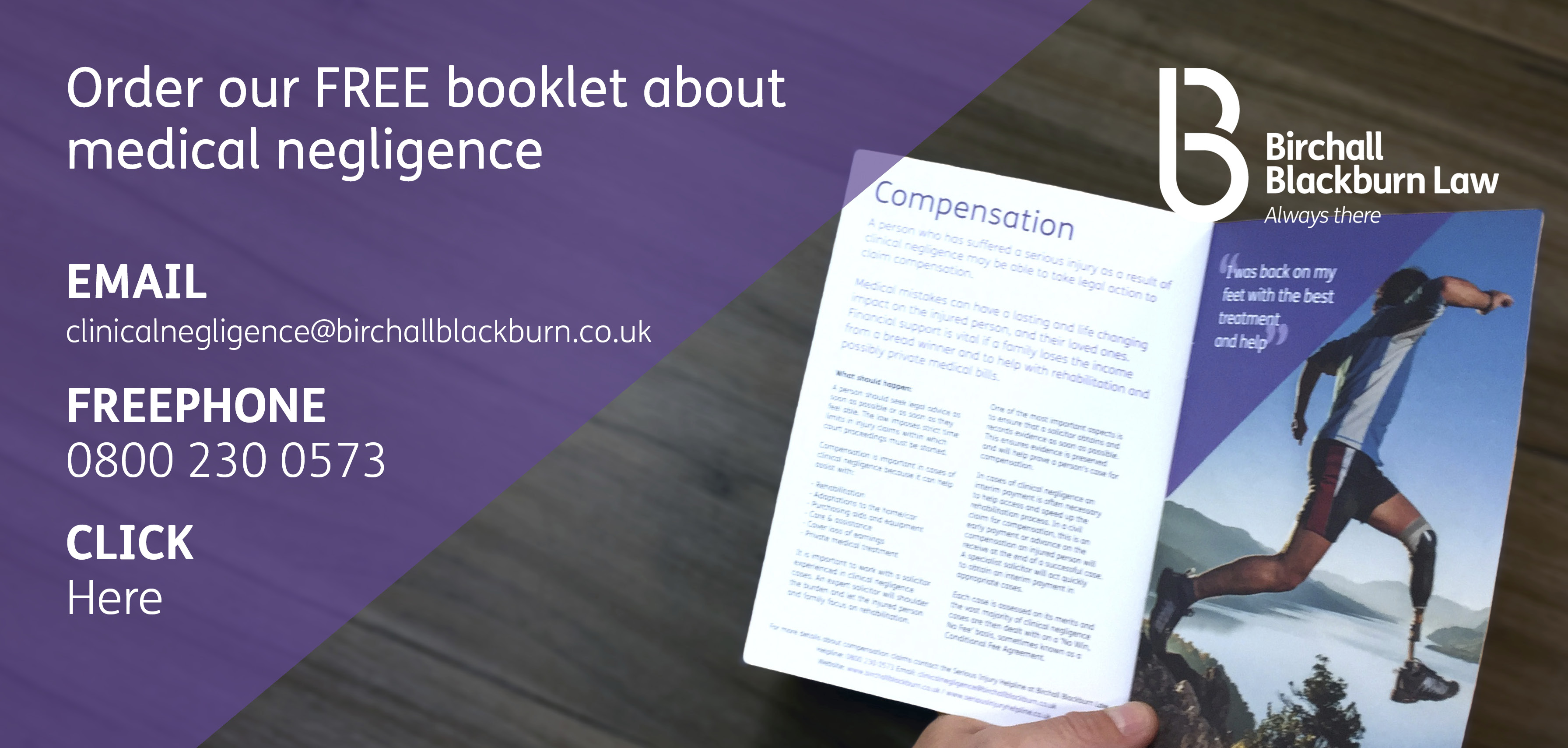 Order the free Birchall Blackburn Law booklet about medical negligence