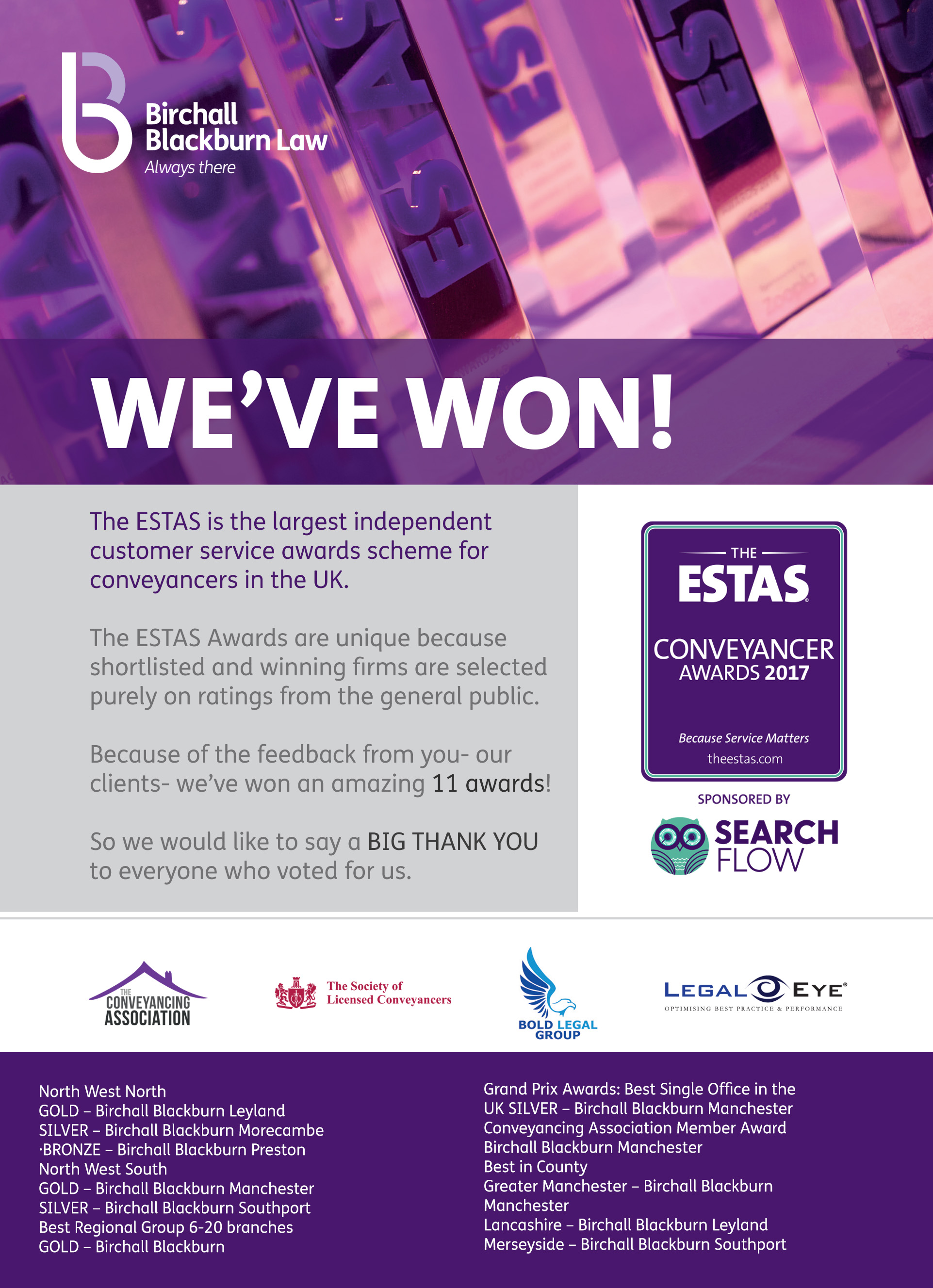 Birchall Blackburn Law wins 11 awards at the ESTAS