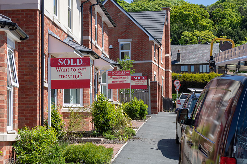 A street with homes for sale