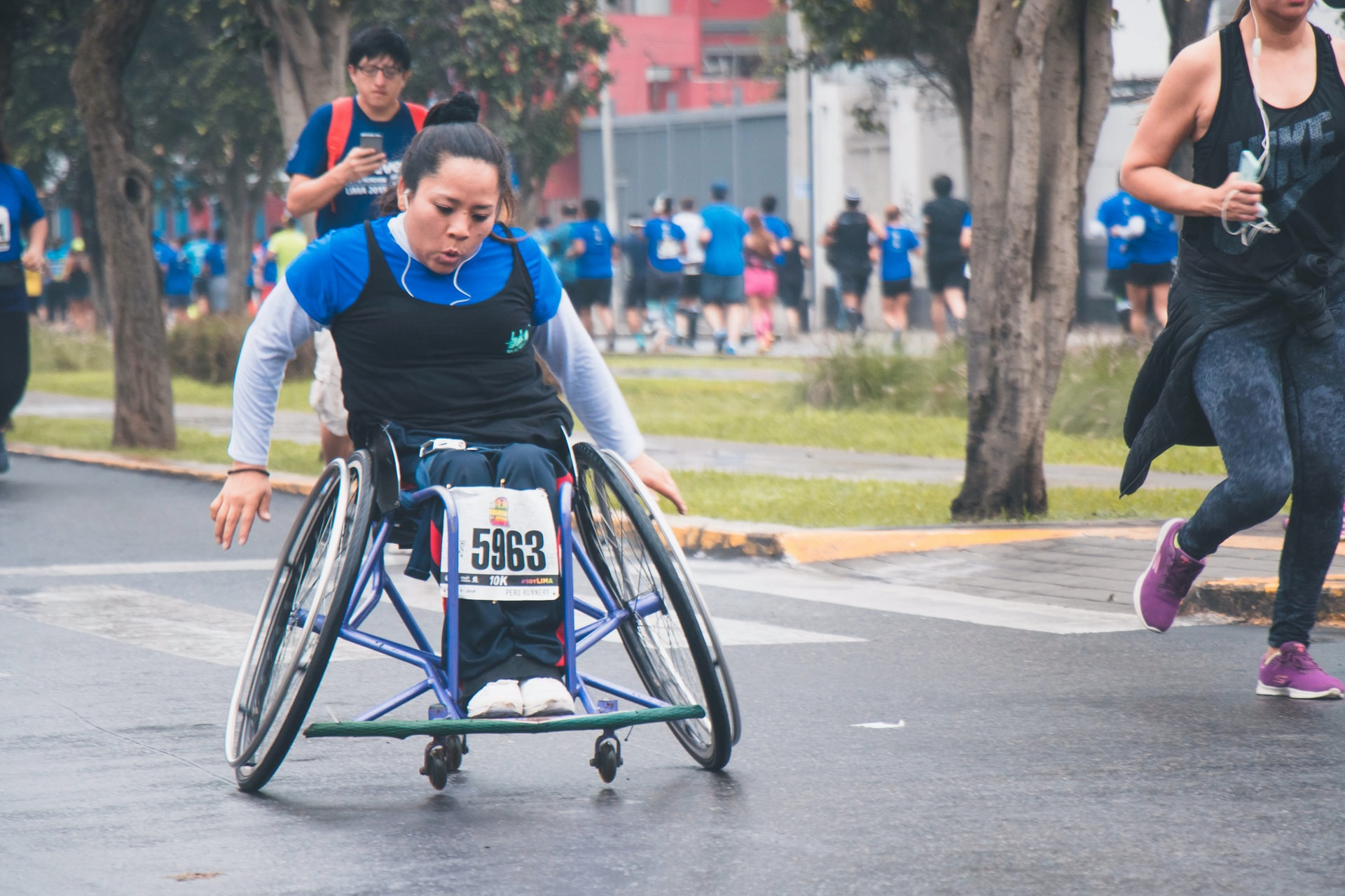 Person in a wheelchair at a race